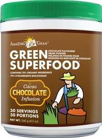 Chocolate flavor organic green drinks