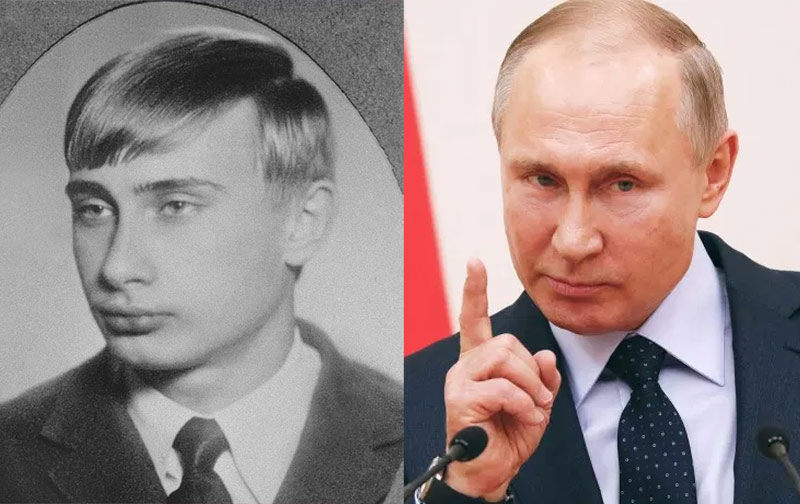 Vladimir Putin with hair and without
