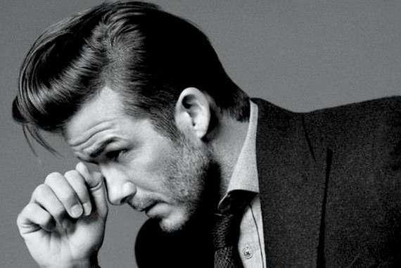 David Beckham with Dark slicked back hair